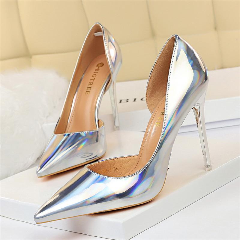 Moda 2020 tacones altos de las mujeres Bombas Tacones Mujer Plus Tamaño delgadas talones verde clásico atractivas de plata zapatos zapatos de boda Prom