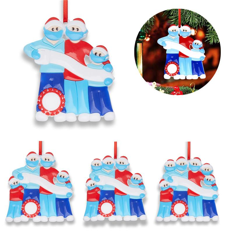 Christmas Quarantine Ornaments Family Survivor PVC Xmas Tree Snowman Pendant Decoration Pandemic With Face Mask Hand Sanitizer E101202