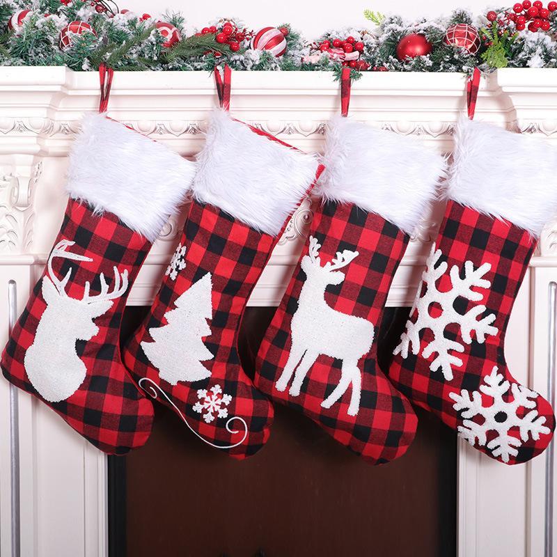Ткань красный и черный плед рождественские носки плюша мультфильм Симпатичные рождественские носки мешок подарков Рождественские украшения украшения Dropshipping F5801