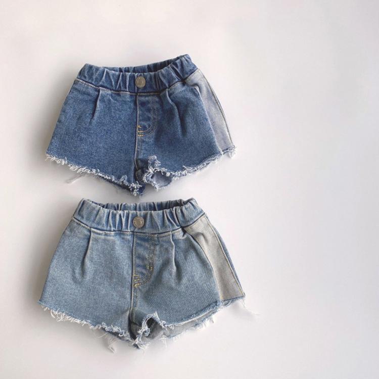Kinder Sommer Neue koreanische stil Shorts Retro Westliche Stil Nähen gewaschene Rohkante Jungen Denim Shorts