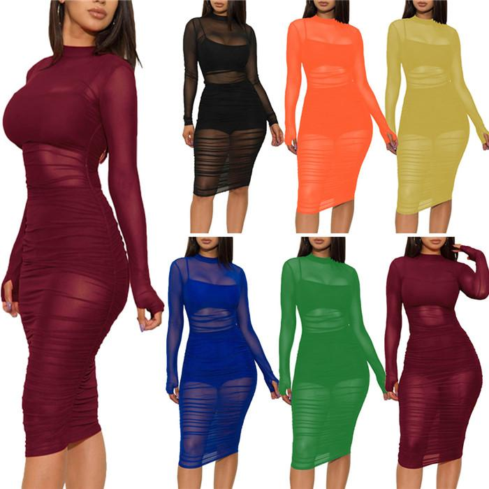 Womens Sexy Mesh Dresses Sets Spaghetti Strap Tanks Top +Sexy Shorts + Long Sleeve Dress Summer Solid Color Bodycon Women Clothing