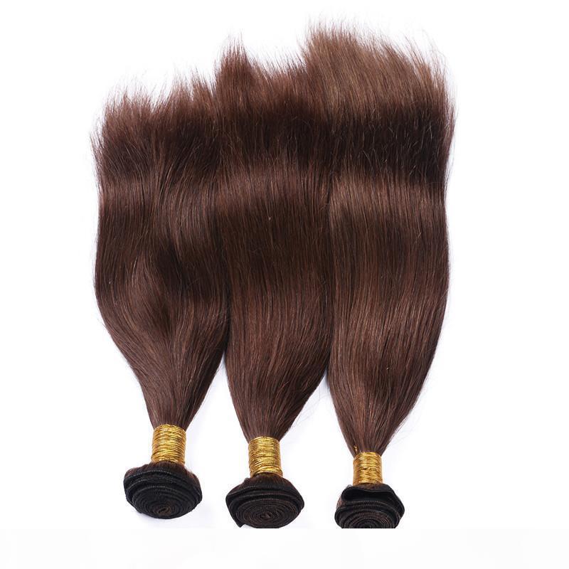 새로운 도착 # 4 초콜릿 갈색 말레이시아 머리 확장 실키 스트레이트 어두운 갈색 말레이시아 인간의 머리카락 짜다 3pcs 무료 배송
