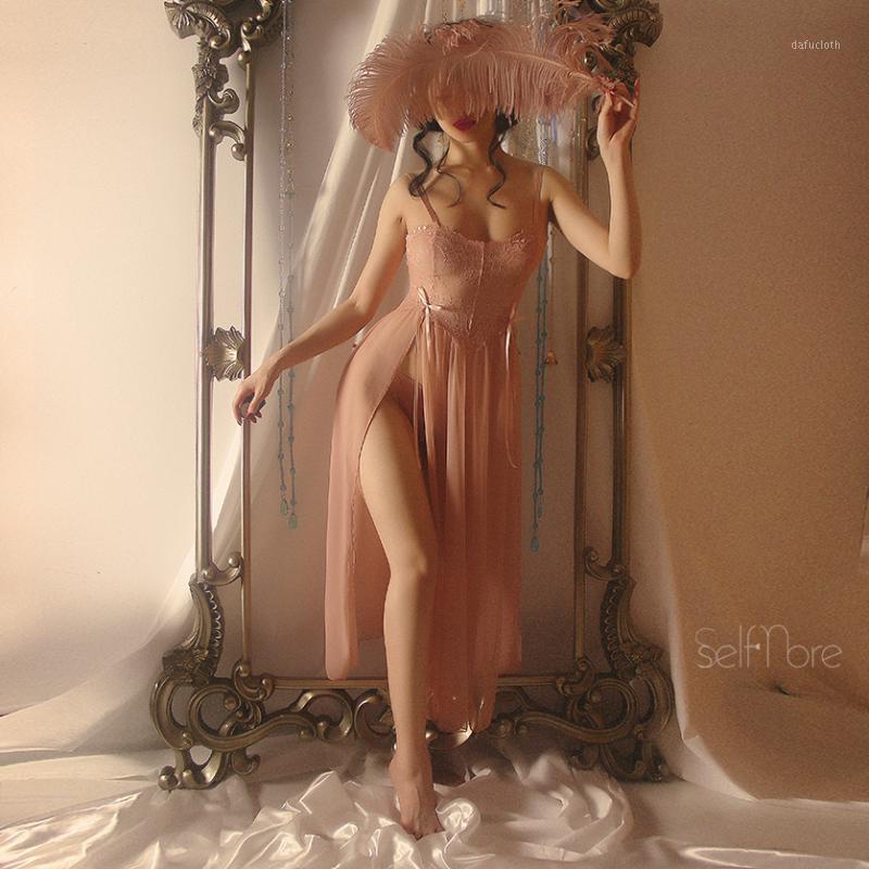 Nightgowns de Verão Mulheres Hollow Sling Aberto Laço Laço Laço Sexy Goddess Dormir Driver Dresserie Sleepwear Pêssego Pink Blacck1