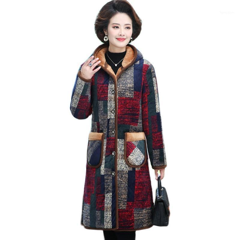 Productos de tendencia Ropa de algodón Mujeres Chaqueta de invierno con una prendas exteriores cálidas con una prendas exteriores de cálido más Cashmere Impresión larga Parkas de alta calidad1