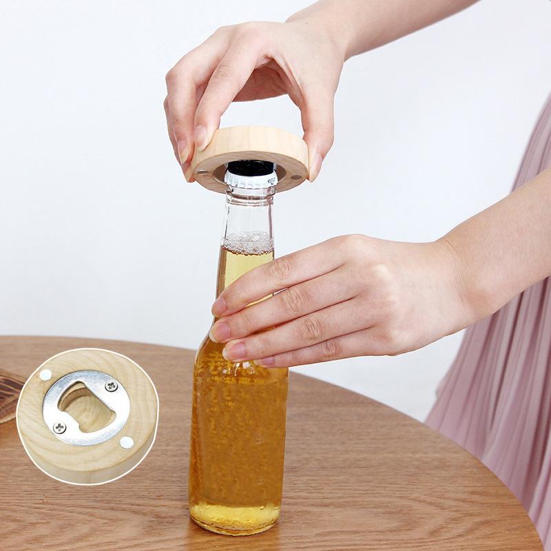 خشبية مغناطيس الثلاجة زجاجة بيرة فتاحة الخشب ثلاجة رسالة لاصقة مغناطيس الإبداعية التخييم بروتابلي الديكور المنزلي