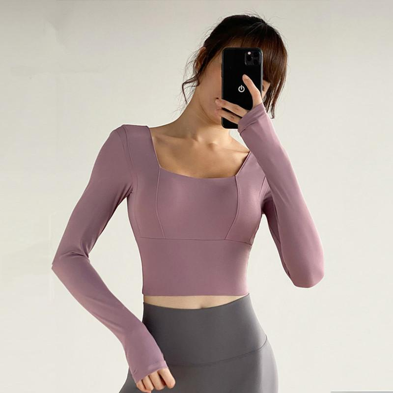 Yoga Outfits 2021 Sports Workout Gym Cropped Tops Women Shirts Long Sleeve Quick Dry Running Fitness Home Training T-shirts With Padded