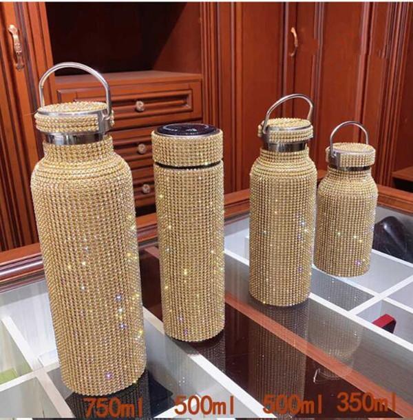 Bling Brilhante Diamante Garrafa de Água Aço Inoxidável Térmica Térmica Portátil Prata Vácuo Frasco Esperto Temperatura Caneca De Café