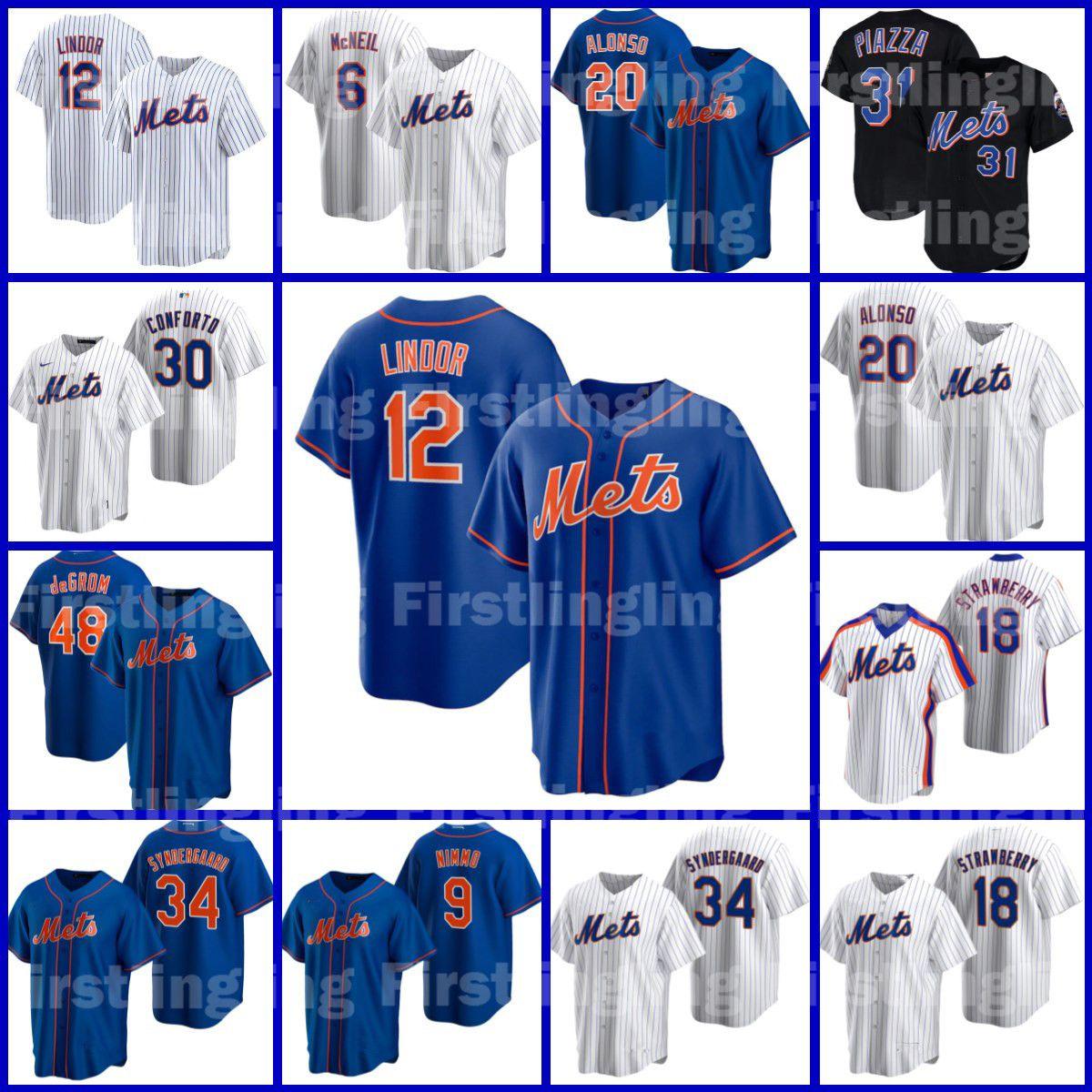 12 Francisco Lindor Custom Mets Бейсбол Джерси 48 Якоб Deemom Pete Alonso New Джефф York Mcneil Tom See Sea Chean Mike Piazza Noah Syndergaard