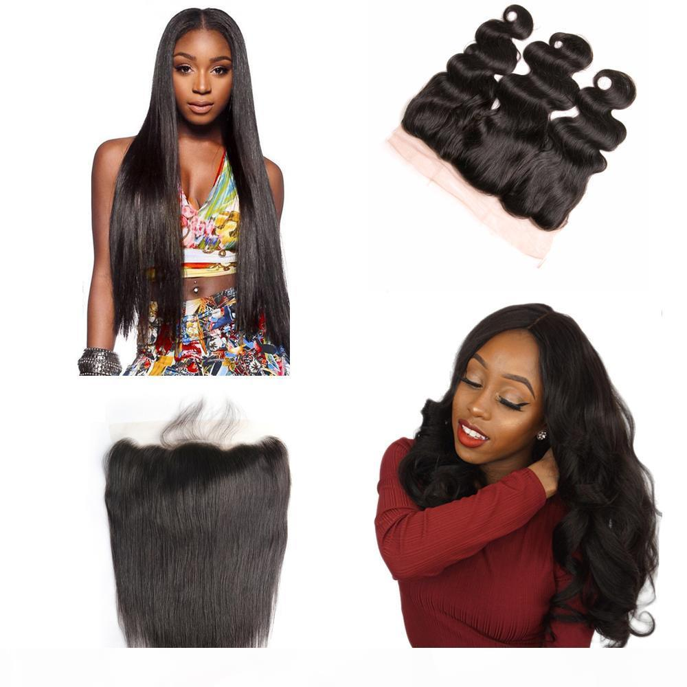 Human Hair Brazilian Malaysian Peruvian Indian remy human hair 13X4 Lace Frontal Pre Plucked Baby Hair Body Wave Straight Dhgate