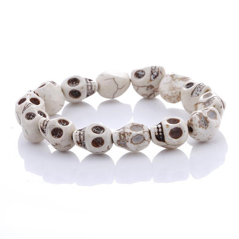Skull Bracelet Fashion Natural Stones Skull Beads Bracelet Stone Beads and Tiger Eye Stone Beads Men Bracelet