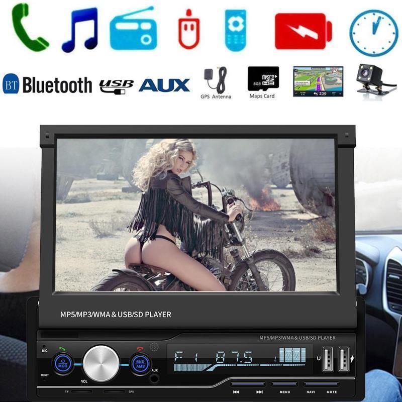 Audio de coche de 7 pulgadas 2 DIN Pantalla táctil Reproductor de MP5 GPS SAT NAV STEREO Radio retráctil Soporta RMVB / RM Formato de video MP41