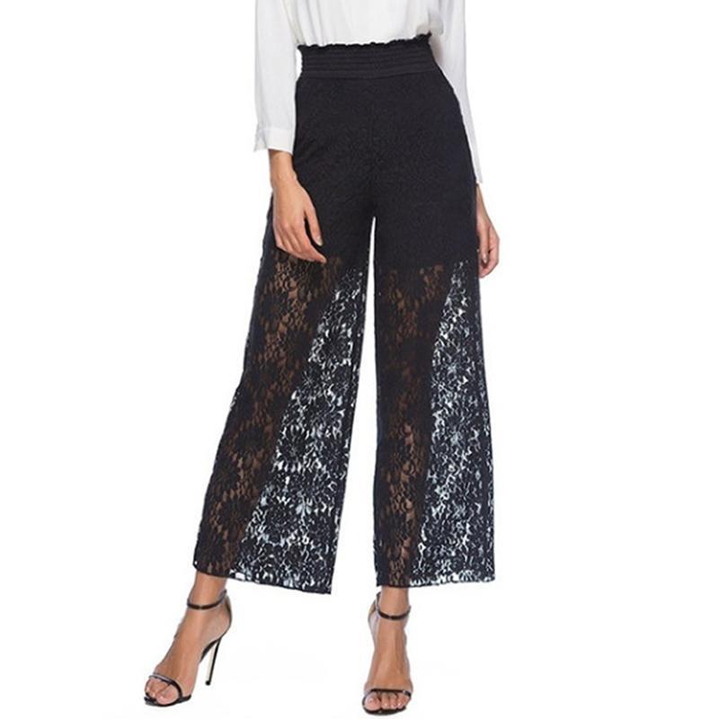 Le donne scava fuori a vita alta allentati pantaloni larghi del piedino trasparenti sexy pantaloni lunghi Lace Black Women Pantaloni allentati