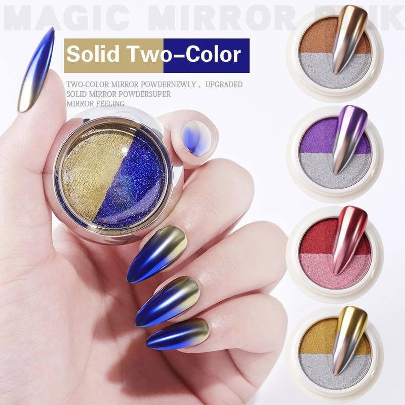 1 صندوق مزدوجة الألوان الأظافر بريق ليزر مسحوق اللونين التدرج الصلبة المرآة السحرية مسمار مسحوق الأظافر الديكور