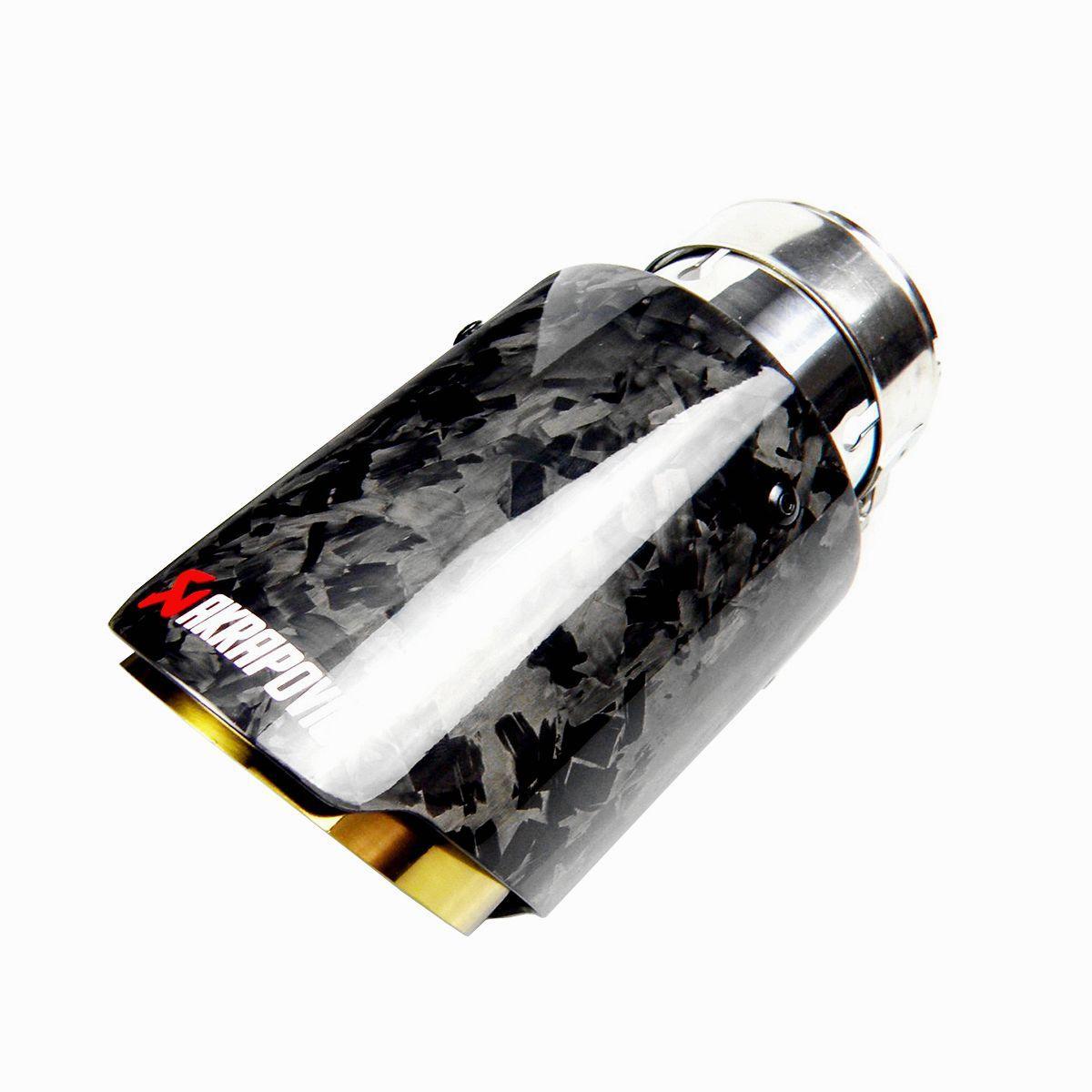 السيارات العالمي على التوالى على حافة ذهبية الفولاذ المقاوم للصدأ المصقول مزورة من ألياف الكربون العادم الخمار تلميح العادم نهاية أنبوب الذيل تلميح الأنابيب AK LOGO