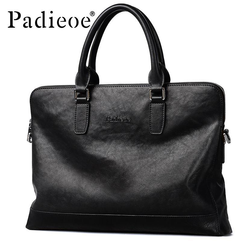 business messenger leather handbags portfolio bags for document shoulder office Briefcase Men's laptop computer man genuine Q0112