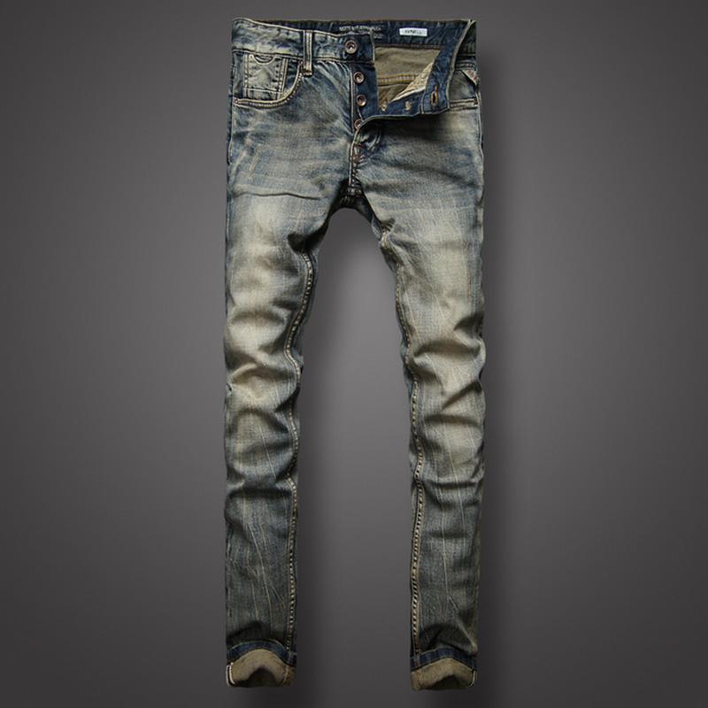Лучшие качества High Street `s джинсы ретро Дизайнерские нашивки джинсы мужские брюки Тонкий Fit кнопки Мужчины LGD617