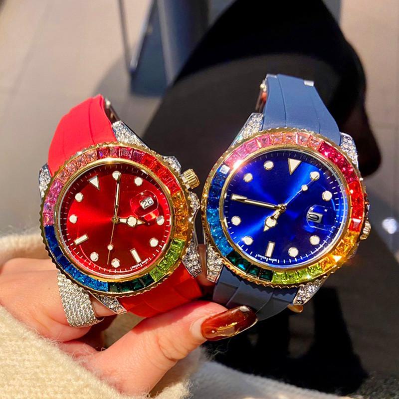 2020 Nuovi designer orologi Rainbow Ring Diamond Watches Five Color Watch Mens Womens Guarda orologi da polso da polso Movimento al quarzo Orologi da uomo
