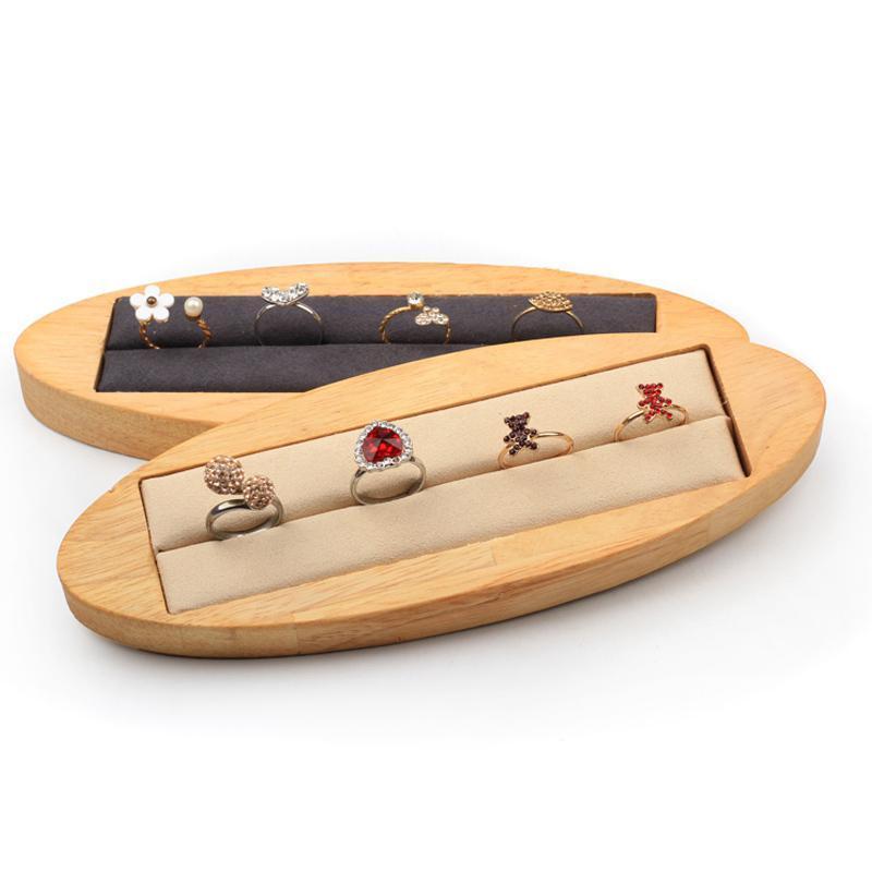 Bandeja de pantalla de tira ovalada de madera maciza, pantalla de pulsera oval multiusos, accesorios de exhibición de joyas