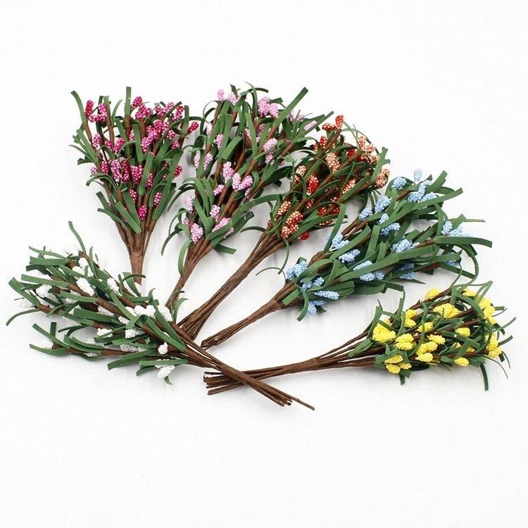 10шт / букет искусственных цветов Свадебные украшения Шелковый Rose Leaf Рождественский венок Crafts тычинки PE Mulberry Отрасли Листья zZb7 #