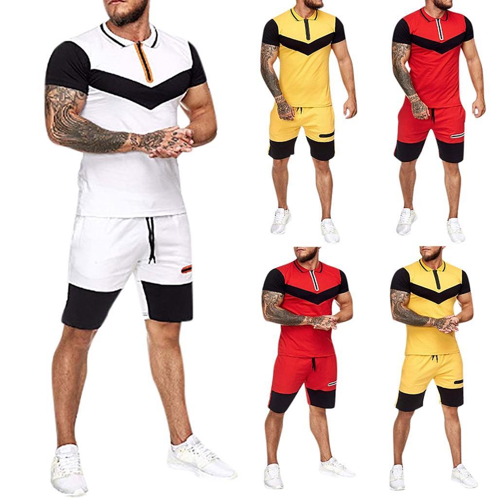 Мужчины Главная нашивки Спорт наборы Столкновение с коротким рукавом Шорты Brand New Outfit Фитнес тренировки Одежда костюмы Наряды