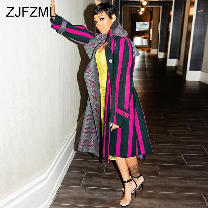 Плед плюс размер длинные пальто и куртки женские воротника с разворотом Свободные плюс размер пальто Элегантная причина полной рукавы кнопки Pook1