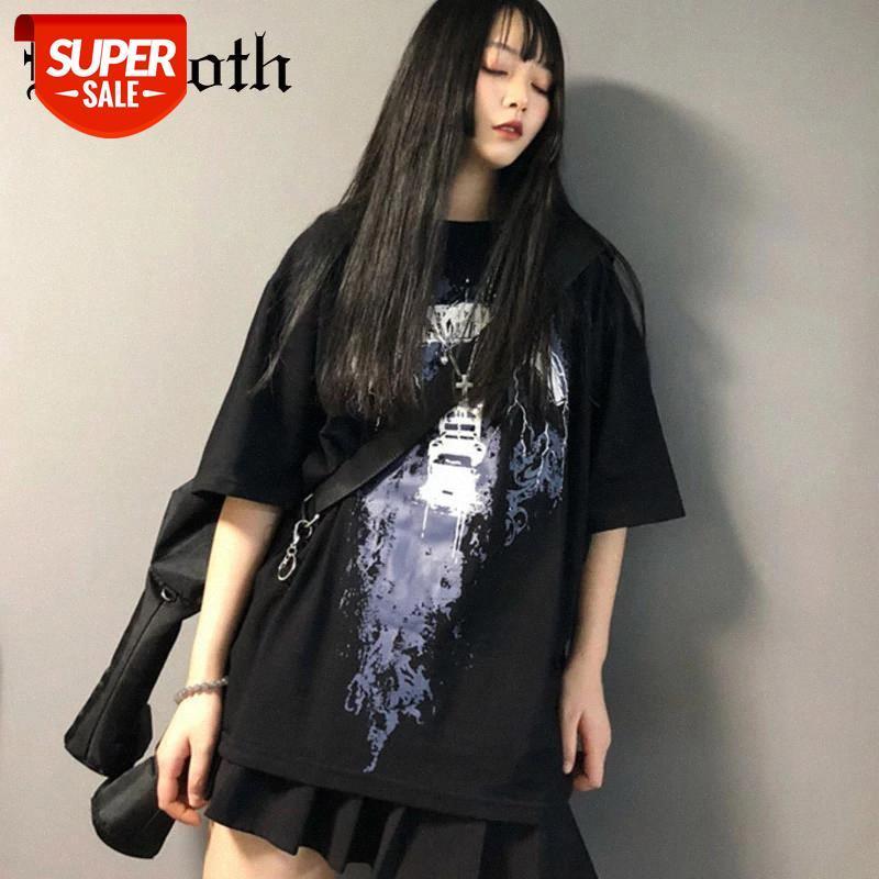 Insgoth Harajuku Gevşek T-shirt Kadın Estetik Grunge Siyah Tee Gotik Punk Baskılı Cadı T-Shirt Streetwear Hip Hop Kadın Top # Ph7d