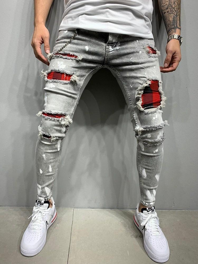 2021 Nuevo Estilo Masculino Moda Grid Aplicación Lápices Lápices Pantalones Streetwear Skinny Jeans EU5R