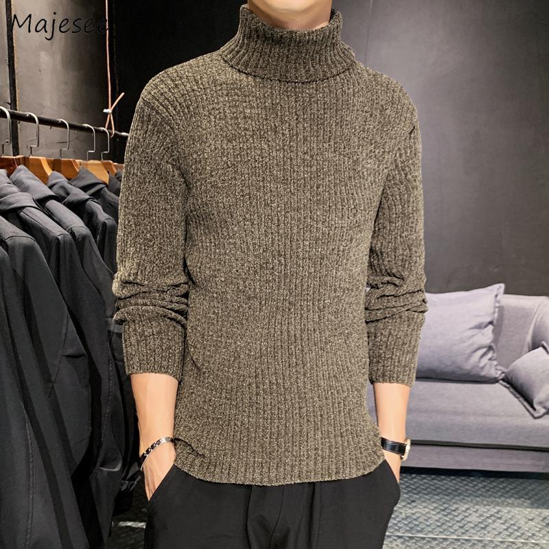 Pullovers hommes à col roulé en maille solide Thicker manches longues Simple hiver Mode Rétro chaud tout match Casual Chic Ulzzang Ins