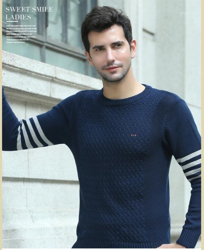 Мужские свитера теплые пуловер мужские повседневные полосатые уплотнительные шеи свитер одежда осень зима трикотаж тянуть Homme 70881