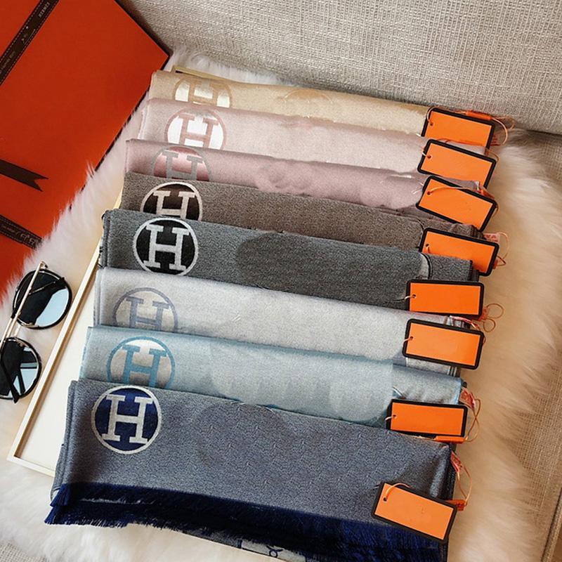 Tencel Cotton Jacquard Foulard pour femmes Designer haute quatituisme tricot écharpes Lettres lettres classiques écharpes écharpes châle plaid hijab