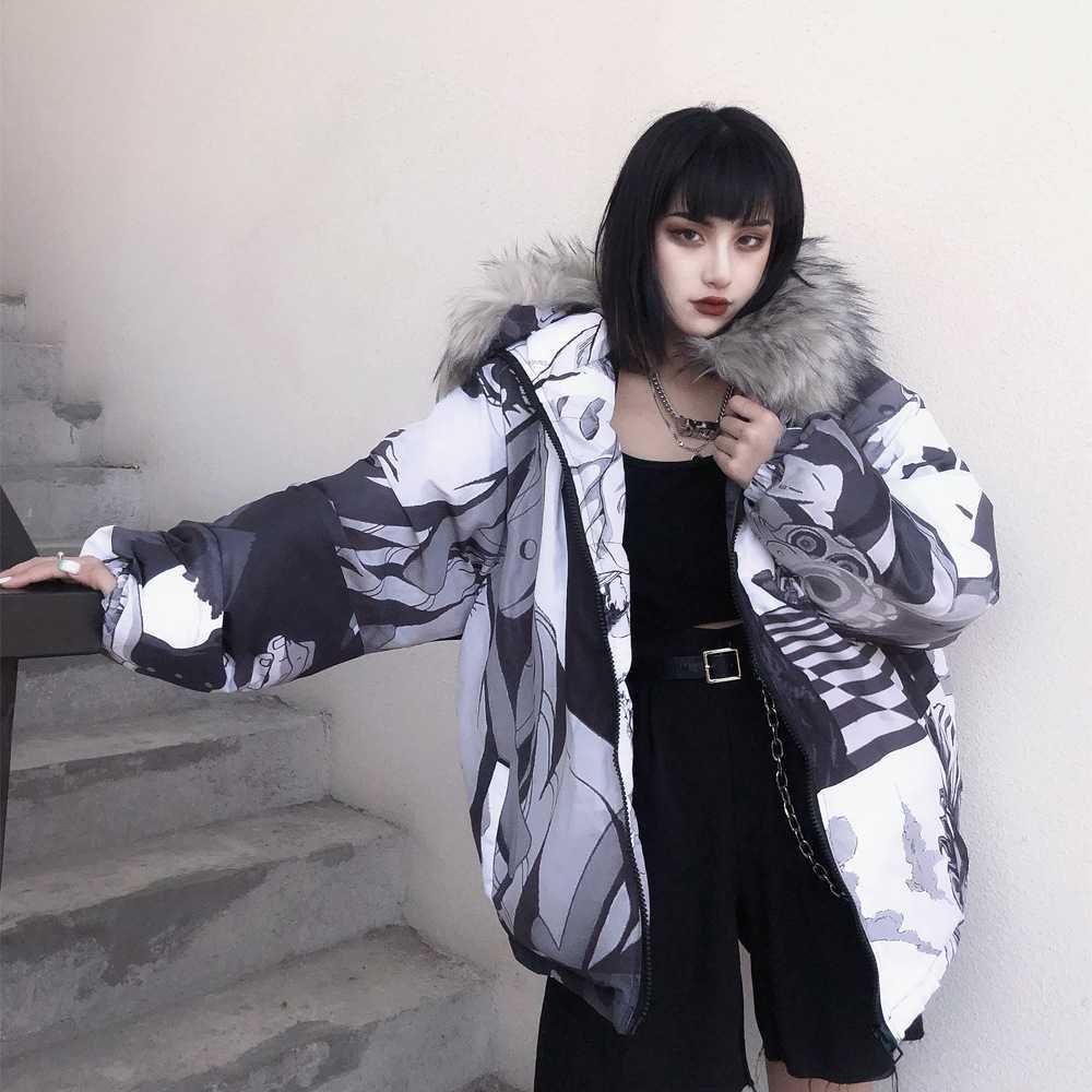 Мягкая зима утолщенная шерстяная воротник с капюшоном хлопчатобумажная одежда женская мода любителей красочные звезды неба хлебное теплое пальто