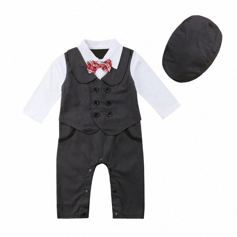 0-24M Newborn Baby Boys Gentleman Formal Suit Romper Jumpsuit Clothes Toddler Kids Boy Party Bowtie Jumpsuit Hats 2Pcs Outfits 1lZx#