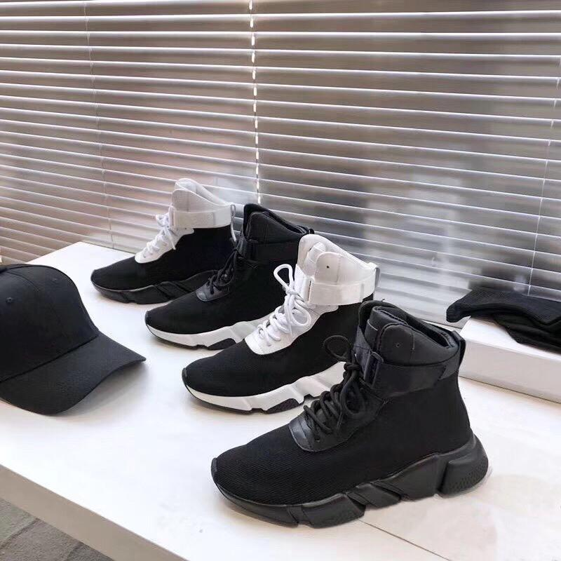Moda Top Mens Womens Winter Ankle Botas Preto Técnico 3D Malha Lace-Up Sneakers Speed Trainer Ladies Running Sock Sock Tênis