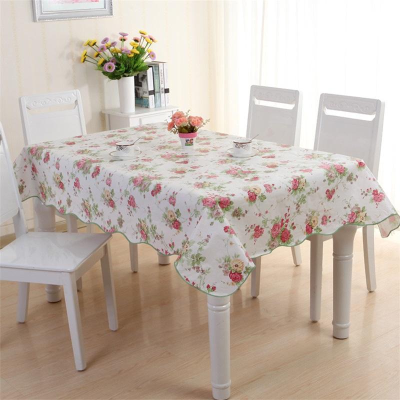 PVC Plastik Masa Örtüsü Kafes Çiçek Desen Dairesel Dikdörtgen Su Geçirmez Yağlı Çay Masa Örtüsü Çok Renkli Ev Eşyaları Yeni 11DX J2