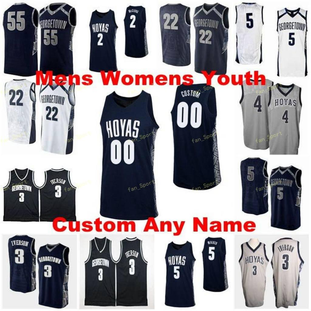 Georgetown Hoyas College Basketball Jersey 0 Jahvon Blair 1 Jamorko Pickett 2 Mac McClung 4 Jagan Mosely Hommes Femmes Enfants Personnalisé Cousu