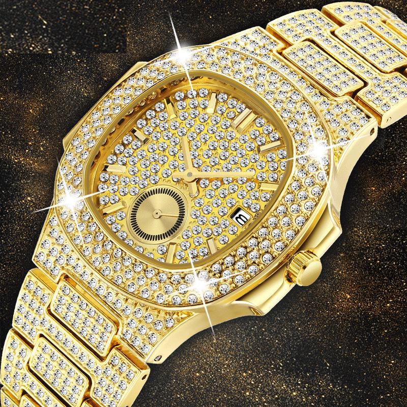 Mouvement de quartz de quartz à quartz de diamant en diamant 18 carats de luxe