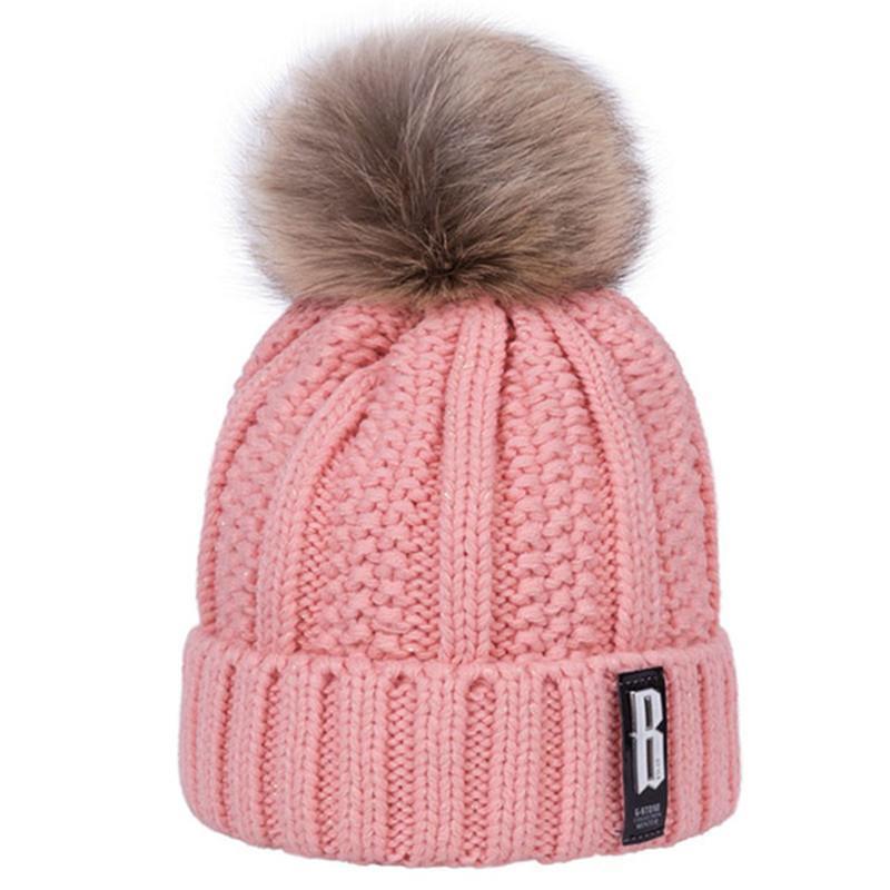 Autunno Inverno Donne New lavorato a maglia la protezione calda No Brim Aggiungi pile e addensare B Etichetta di lana Set Cappello