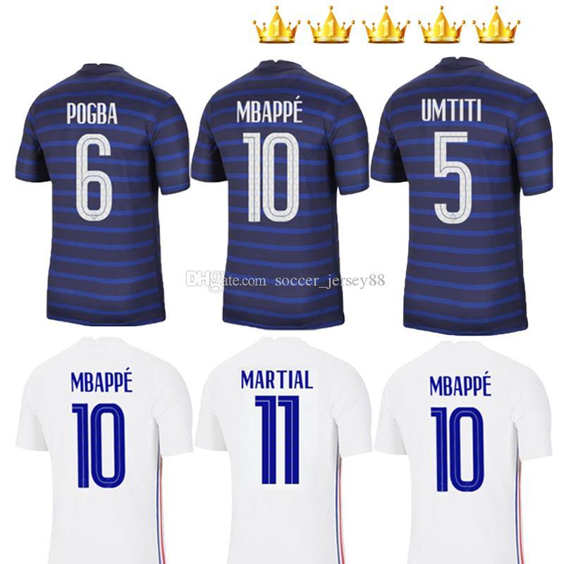 2020 2021 Jersey de football Maillot Equipe de 20 21 Hernandez Varane F Giroud Thaufin Rance Kante Pogba Maillot de pied Jerseys Chemises de football