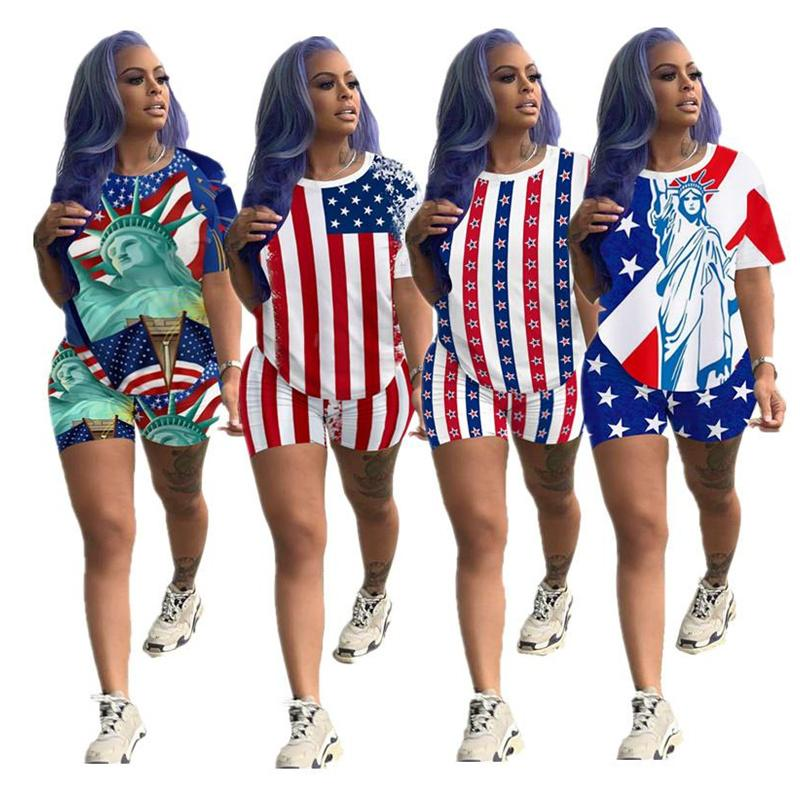 Women Shorts Tracksuit America Flag Print Summer Two Piece Set Short Sleeve T Shirt + Shorts Outfits Fashion Sportswear Suit Top Sale