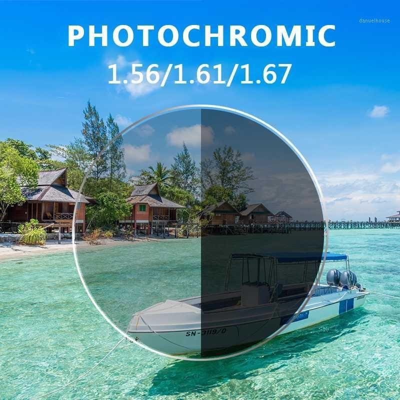 Qualità Anti Blue Light Rays PhotoChromic 1.56 1.61 1.67 Prescrizione CR-39 Resina Occhiali da occhiali Aspheric Lenses Myopia Occhiali da sole Lens1