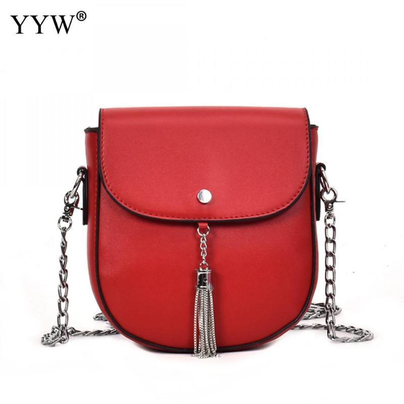 Yyw pequena cadeia de moda bolsa de ombro pu bolsa de couro feminino sacos quadrados bolsas Nova borla mulheres mulheres bolsas feminina mnukv