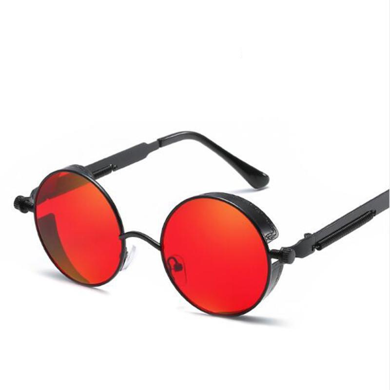 Sonnenbrille Unisex Steampunk Metall Sonnenbrille Runder Rahmen Vintage Retro Goggles Klassische Modebrille Punk