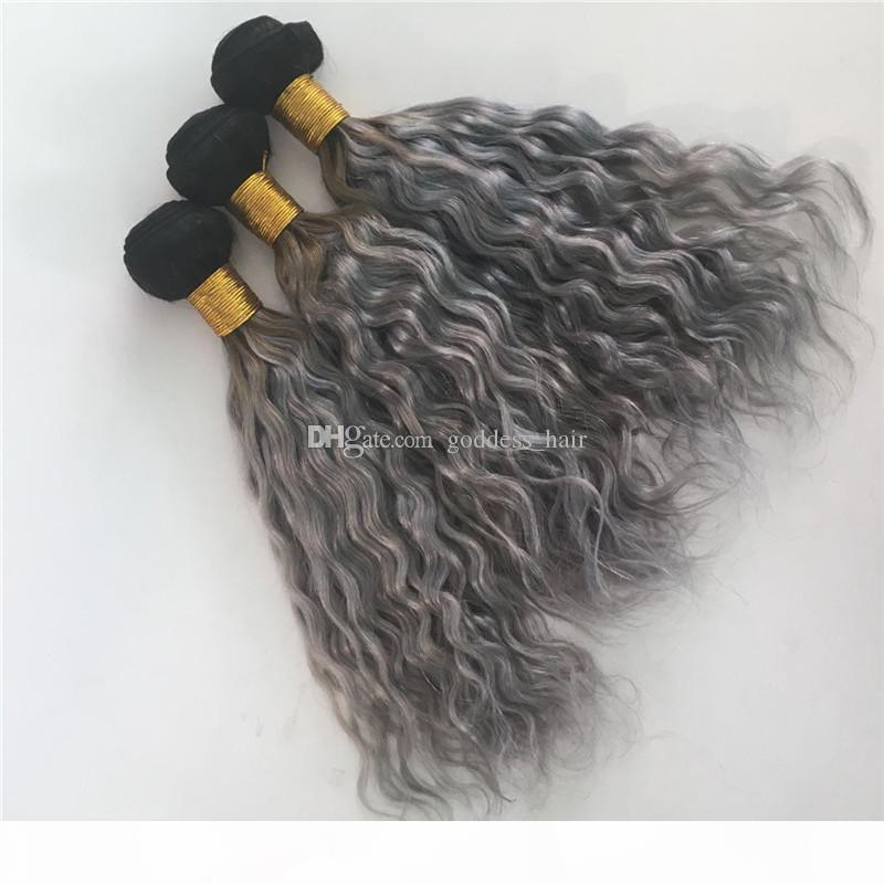 Ombre Renk 1B Gri İnsan Saç Örgüleri İki Ton İnsan Saç Örgüleri Koyu Kök Su Dalga İnsan Saç Atkı 3 adet