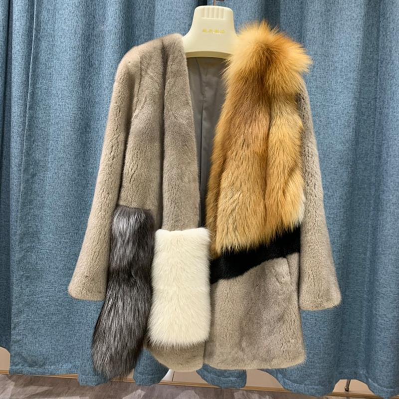 Furma damska Faux Women Winter Coat Real Norek ze Silver Red Short Dostosuj Ciepłe Całe Skóry Natural Coats Kurtki