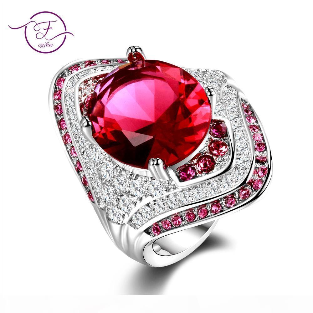 Adatti a nuovo 925 Sterling Silver Ring con Ruby pietre per gioielli di cristallo zircone donne Vintage Fashion Party Engagement