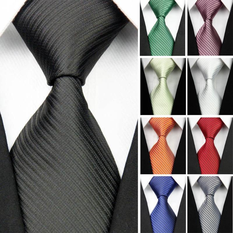 """남성 액세서리 블랙 블루 화이트 레드 솔리드 스트라이프 자카드 비즈니스 결혼식 넥타이 Gravatas 3 """"/7.5cm에 대한 남자 100 % 실크 넥타이"""
