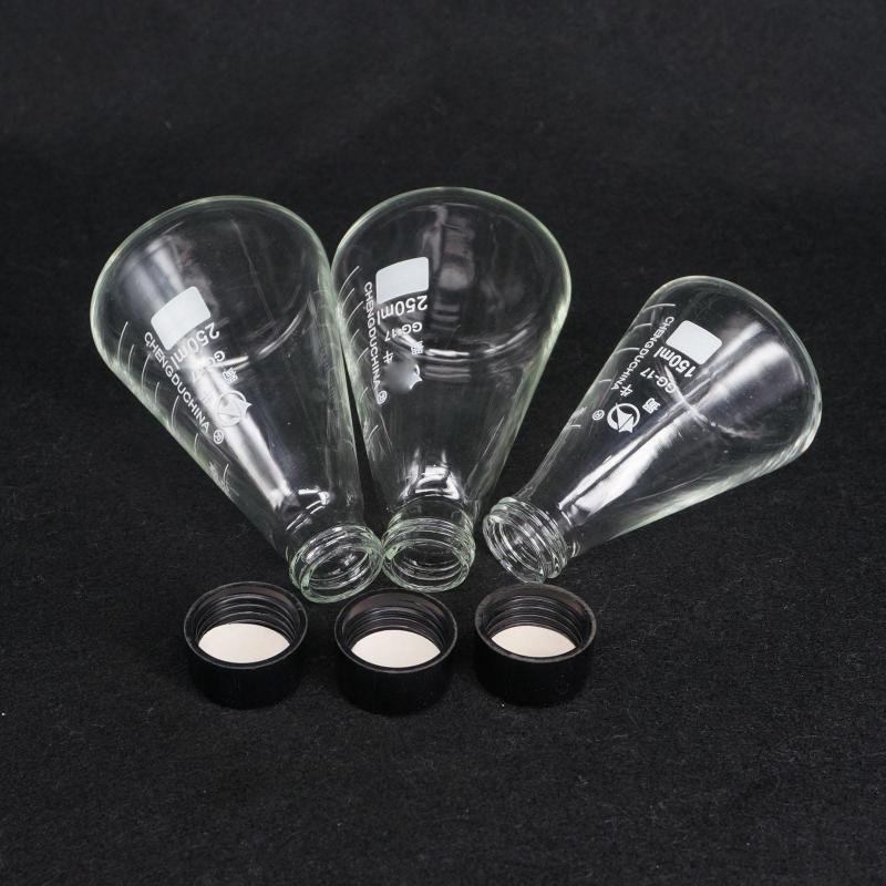 Forniture da laboratorio 50ml 100ml 150ml 250ml 500ml 1000ml 2000ml 3000ml GG17 GLU15 Glass Conical Erlenmeyer Stretto Bocca a bocca stretta Cappuccio per boccetta Labakware