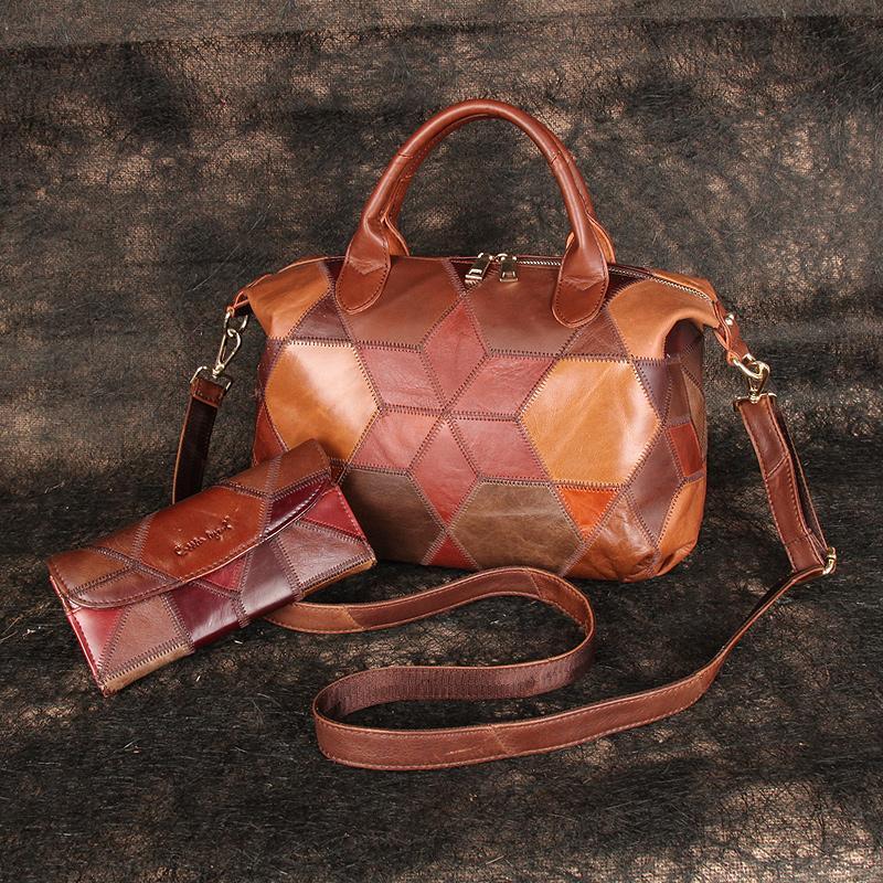 Подлинные кожаные кошельки сумки женские композитные кисточки дизайнерской сумки большой верхней ручкой леди сумки на плечо 2Set Tote Винтаж кошелек