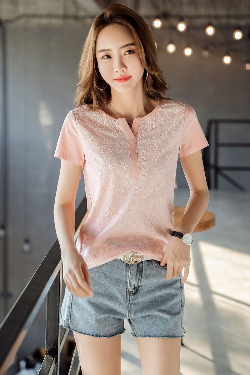 2020 лето новая большого размера жир мм Женского модные кружева ShirtShirt shirttemperament тонкого шнурка вышитого сшивание с короткими рукавами футболки