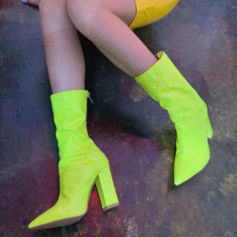 Siddons Горячие Продажи Женщины Boots Boots Заостренные Ножим Сексуальные Коренастые Высокие каблуки Мода Дамы Взлетно-посадочная полоса Обувь Женщина Ботас Botas Mujer